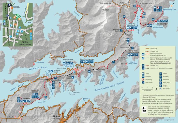 クイーン・シャーロット・トラック - DOC発行の地図