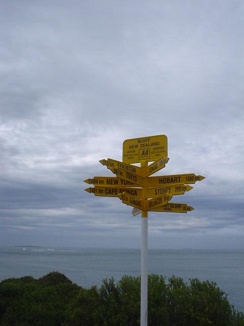ブラフ - インバカーギルから世界主要都市を指す看板