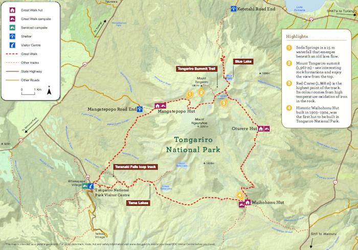 トンガリロ・ノーザン・サーキット - DOC発行の地図