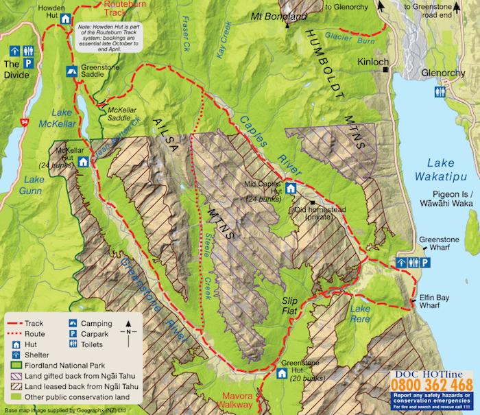 グリーンストーン・トラック - DOC発行の地図