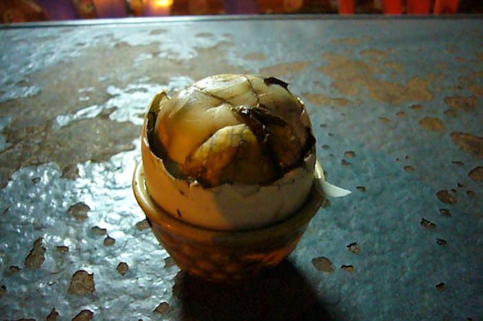 孵化寸前のアヒルの卵を茹でたもの