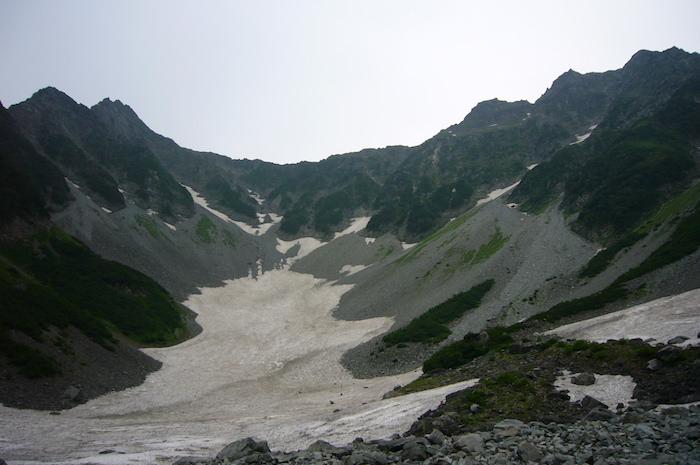 奥穂高〜前穂高の大雪渓