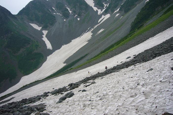大雪渓をトラバース