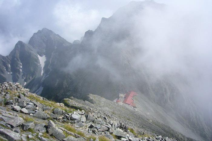 上から見た穂高岳山荘