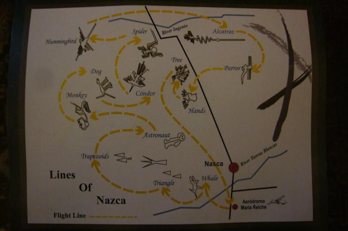ナスカの地上絵フライトのコース