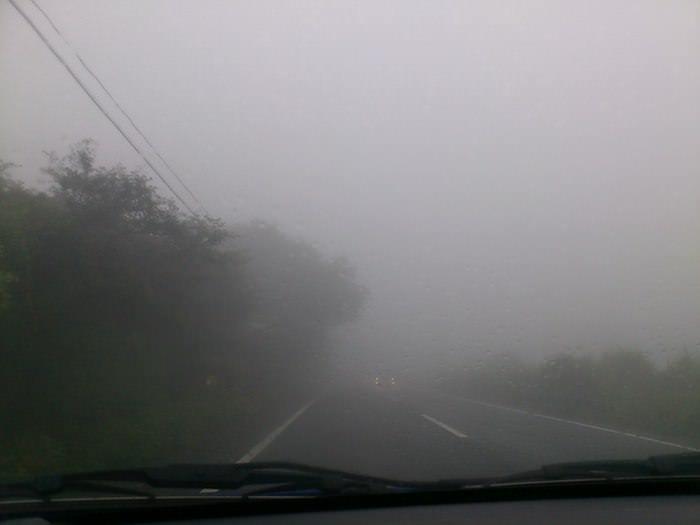 雨で富士山見えず