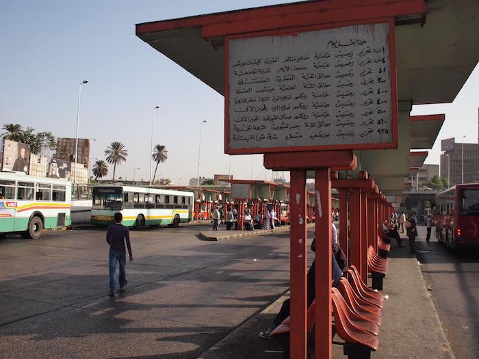エジプト カイロのタフリール東バスターミナル