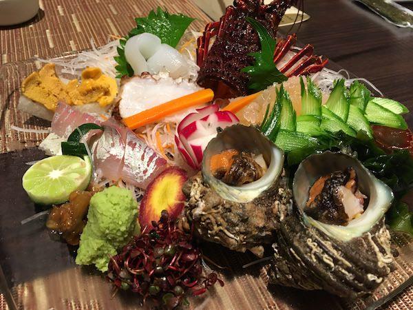 あわじ浜離宮の夕食(刺し身)