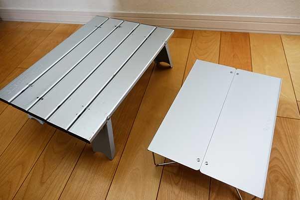 キャプテンスタッグとポップアップソロテーブル フィールドホッパーのサイズ比較