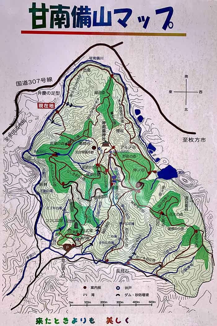 甘南備山の地図(ハイキングマップ)