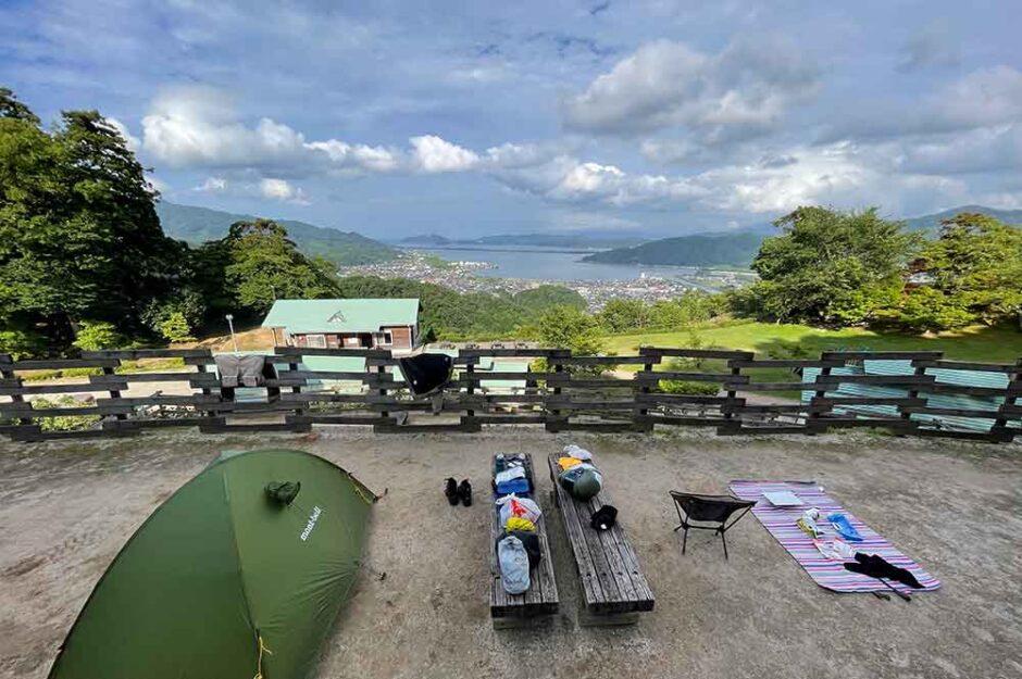 天橋立を一望できる大内峠一字観公園でキャンプ