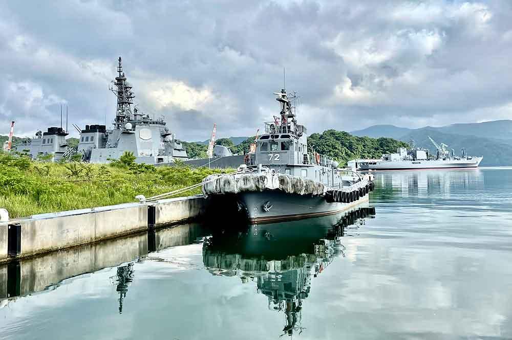 舞鶴赤れんがパークから見る自衛隊の船